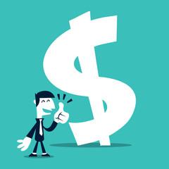 Retro Cartoon Business Man Thumbs Up At Money Sign