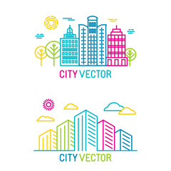 Vector city and architecture logos in trendy bright linear style