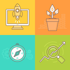 Vector business concepts in trendy linear style