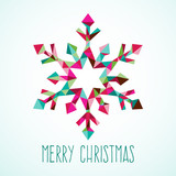 Modern Geometric Triangle Christmas Winter Snowflake poster