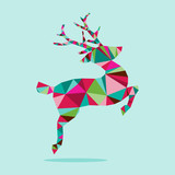 Modern Geometric Triangle Christmas Jumping Reindeer