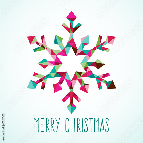 Modern Geometric Triangle Christmas Winter Snowflake