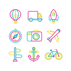 Vector travel and transportation icons