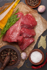 Raw fillet beef steak and spices