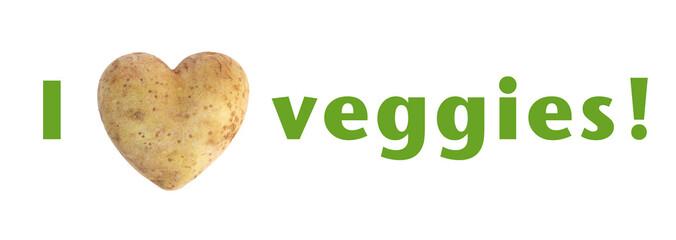 """I love (heart) veggies"" heart shaped potato spud"