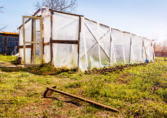 Small Homemade Greenhouse For Vegetables  In The Garden