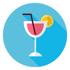 Flat Cocktail with Orange Slice and Tubule Circle Icon