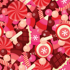 Sweet Chocolates Candies Pile Seamless Pattern Background