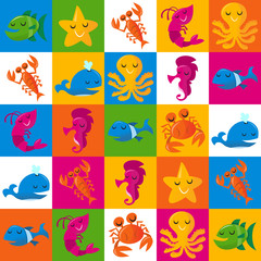 Happy Fun Cartoon Sea Creatures Tiles Pattern Background
