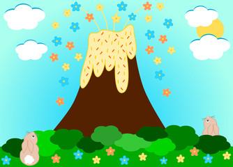 Volcano erupting flowers funny cartoon illustration