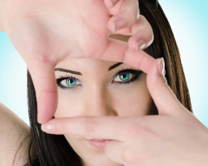 focuses the vision,girl in lenses,