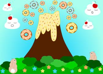 Volcano erupting donuts funny cartoon illustration