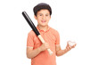 Cute little boy holding a baseball bat