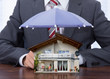 Businessman With An Umbrella And House Model