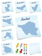 Collage von Saarland mit Landkreisen als Notizzettel in Blau