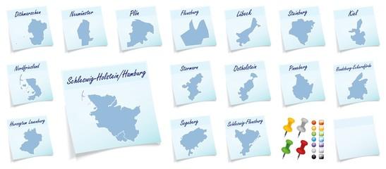 Collage von Schleswig-Holstein mit Landkreisen als Notizzettel i