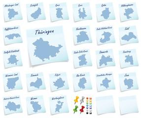 Collage von Thueringen mit Landkreisen als Notizzettel in Blau
