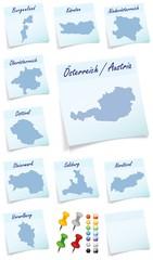 Collage von Oesterreich mit Kantonen als Notizzettel in Blau