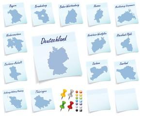 Collage von Deutschland mit Bundesländern als Notizzettel in Bl