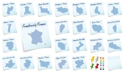 Collage von Frankreich mit Bundesländern als Notizzettel in Bla
