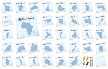 Collage von Afrika als Notizzettel in Blau