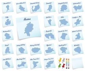 Collage von Hessen mit Landkreisen als Notizzettel in Blau