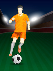 soccer player play match in design concept
