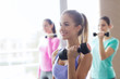 group of happy women with dumbbells in gym