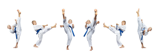 Boy does a high kick into the air. Collage
