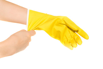 Woman hands wearing protective rubber gloves
