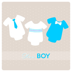 baby shower card, different baby bodysuits for a little boy