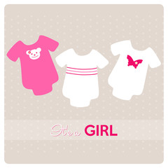 baby shower card, baby bodysuits for a little girl