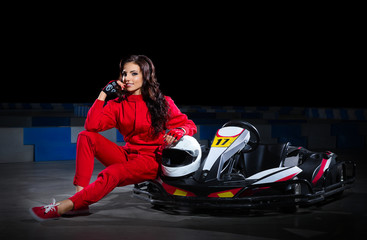 Girl racer with kart