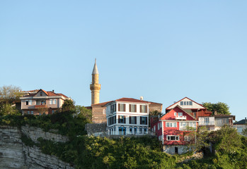 Hillside houses and mosque