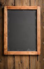 vertical blackboard on dark wood