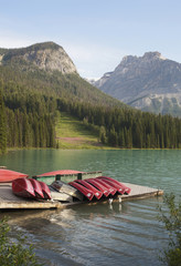 Canoes stacked on dock, Emerald Lake, British Columbia, Canada