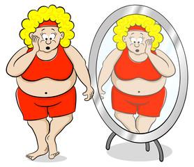 übergewichtige Frau steht schockiert vor einem Spiegel