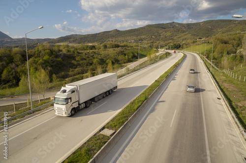 trucks on highway in Egnatia street Ioannina Greece