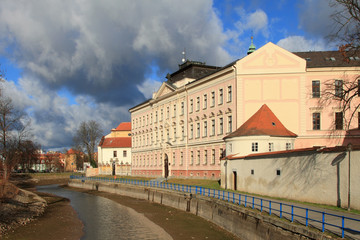 Gymnasium and channel. Ceske Budejovice, Czech Republic