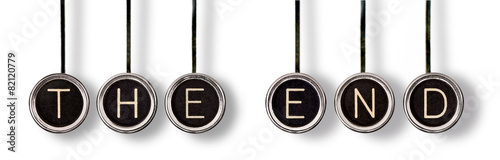 Fotobehang Retro The End Vintage Typewriter Keys