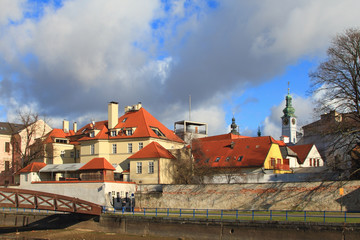 Channel and bridge. Ceske Budejovice, Czech Republic