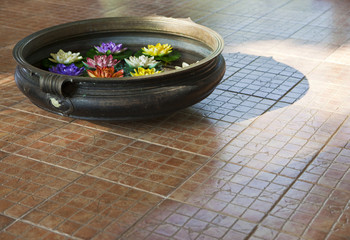 Water Bowl With Flowers on Tile Floor
