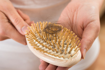 Person Hand Holding Comb With Loss Hair
