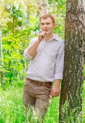 Romantic guy in the park