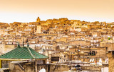 Fes, Marocco panoramic view of old medina town.
