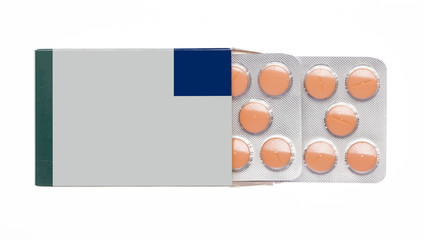 Grey box with orange pills blister pack