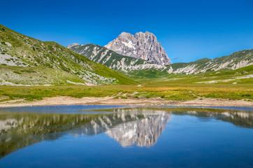 Gran Sasso mountain lake reflection, Campo Imperatore, Italy