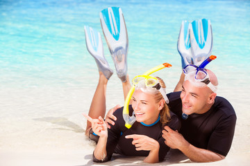 Joyful diver couple