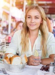 Beautiful woman at cafe