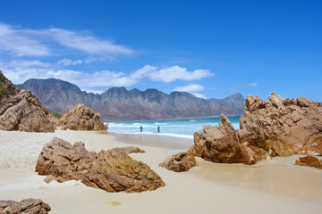Beach, rocks, mountains